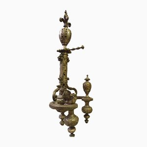 Chenets Antique en Bronze Argenté, Set de 2