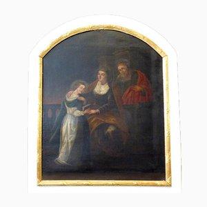 Antiker lackierter Trumeau Spiegel