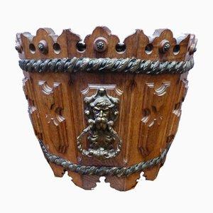 Antiker ausgeschnittener Topfdeckel aus Holz
