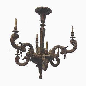 Lackierter Antiker Holz Kronleuchter im Steingut Stil