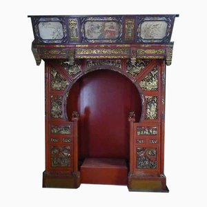 Antique Chinese Polychrome and Golden Wooden Bed