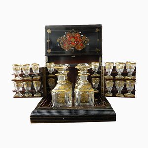 Antique Napoleon III Marquetry Liquor Cellar Set