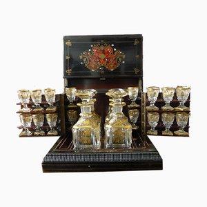 Antique Napoleon III Marquetry Liquor Cellar Set
