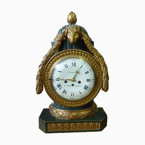 Antique Painted Wood Clock from De Baumgartner