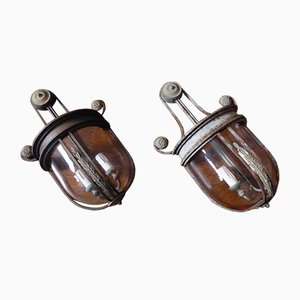 Iron & Glass Wall Lights, Set of 2