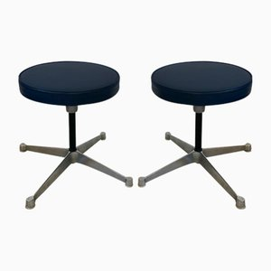 Vintage Navy Blue Stools by Charles & Ray Eames for Herman Miller, 1970s, Set of 2