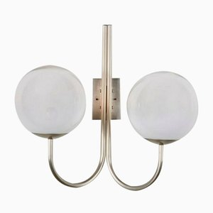 Chrome-Plated Brass & Milk Glass Sconce from Candle, 1960s