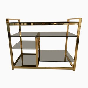 Vintage Gold Rectangular Smoked Glass Top Buffet from Maison Jansen, 1970s