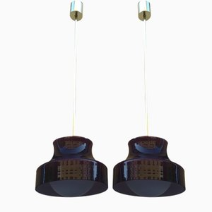 Brass & Opal Glass Ceiling Lamps, 1950s, Set of 2