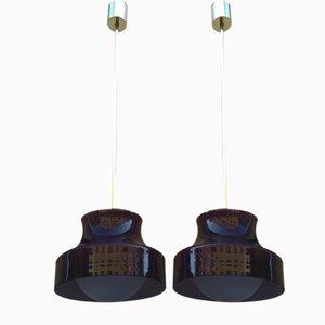 Deckenlampen aus Messing & Opalglas, 1950er, 2er Set