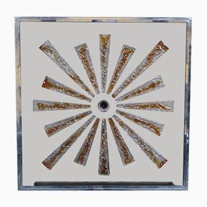 Stahl & Murano Glas Wandleuchte von Poliarte, 1970er