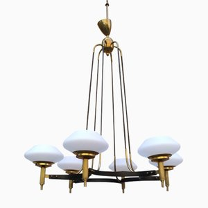 Brass, Iron & Opal Glass Ceiling Lamp, 1950s