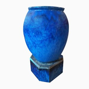 Art Deco Cache Blue Ceramic Pot, 1930s