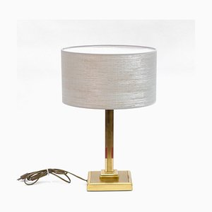 Vintage Art Deco Style Brass Column Table Lamp, 1970s