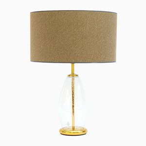 Vintage Brass and Bubble Glass Table Lamp, 1970s