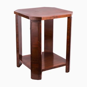 Small Art Deco Octagonal Walnut Veneer Side Table, 1930s