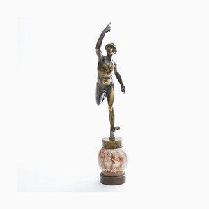 Art Deco Bronze und Marmor Hermes Skulptur, 1920er