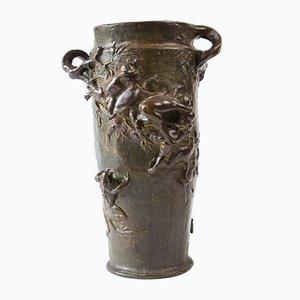 Jugendstil Vase aus Bronze von Gustave-Joseph Cheret