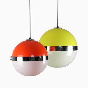Vintage Space Age Pendant Lamps, Set of 2