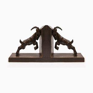 Serre-Livres Art Déco en Bois Sculpté, 1930s, Set de 2