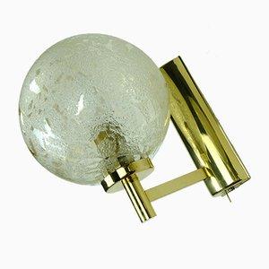 Vintage Wandlampen aus Strukturiertem Glas & Goldem Metall, 1980er, 2er Set