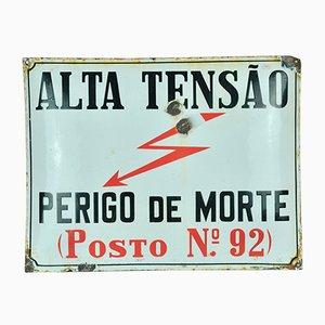 Emailliertes High Voltage Schild, 1950er
