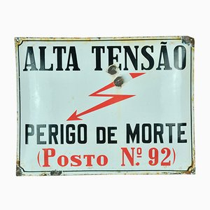 Enamel High Voltage Sign, 1950s