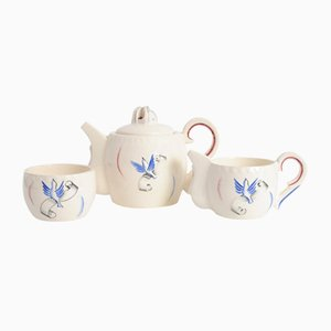 French Ceramic Liberation Tea Set from J. Pobery, 1940s