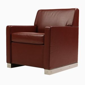Vintage Maroon Leather Armchair from Cassina