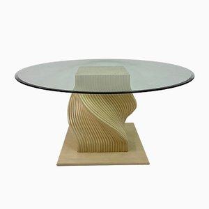 Spiralförmiger Vintage Esstisch aus Bambus & Glas, 1980er