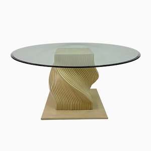 Vintage Spiral Bamboo and Glass Dining Table, 1980s