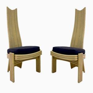 Bambus Esszimmerstühle, 1980er, 8er Set