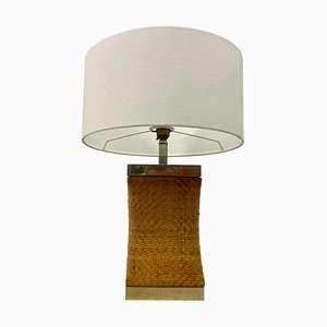 Vintage Rattan and Chrome Table Lamp, 1970s