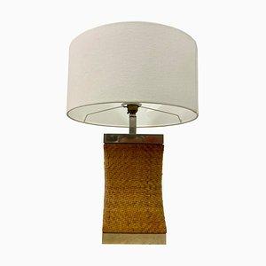 Vintage Tischlampe aus Rattan & Chrom, 1970er