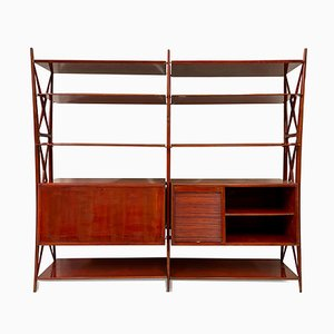 Vintage Red Lacquered Wall Unit by Silvio Cavatorta, 1940s