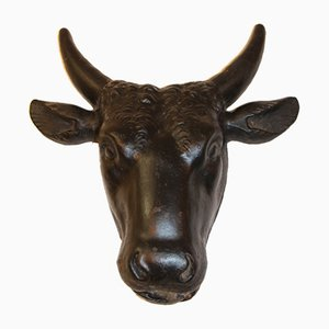 Antique Cast Iron Ox Head Sculptures, Set of 2