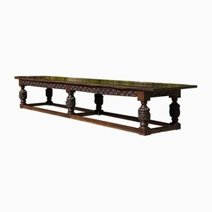 Antique Charles II Oak Refectory Banquet Dining Table, 1660s