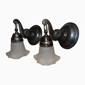Art Deco Brass Sconces, Set of 2
