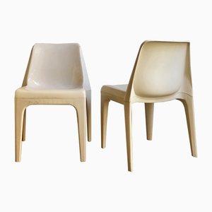 Stapelbare Weiße Kunststoff Esszimmerstühle, 1970er, 6er Set
