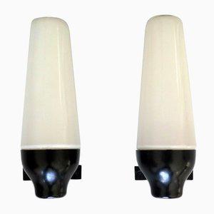Bakelit & Opalglas Wandlampen, 1950er, 2er Set