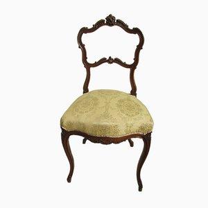 Antiker Ludwig XVI Walnuss & Damast Stuhl, 1880er