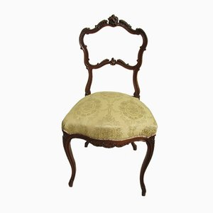 Antique Louis XVI Walnut & Damask Dining Chair, 1880s