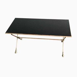 Table Basse en Opaline Noire et Bronze de Maison Jansen, 1970s