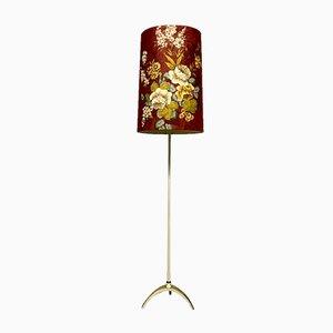 Mid-Century Italian Gilded Pedestal Floor Lamp