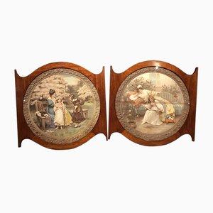 Gerahmter antiker edwardianischer Mahagoni Wandteppich, 1902, 2er Set