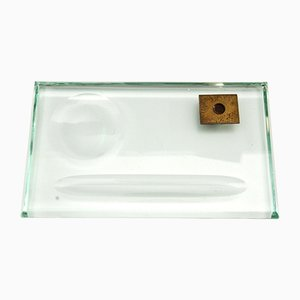 Mid-Century Nil Schreibtisch Stifthalter aus Grünem Glas, 1950er
