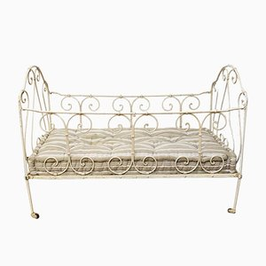 Lacquered Metal Crib with Cotton Mattress, 1920s