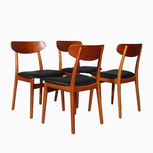 Oak Dining Chairs by Henning Kjærnulf, 1970s, Set of 4