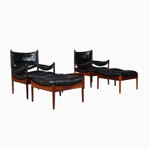 Rosewood & Leather Lounge Chairs by Kristian Solmer Vedel, 1960s, Set of 5