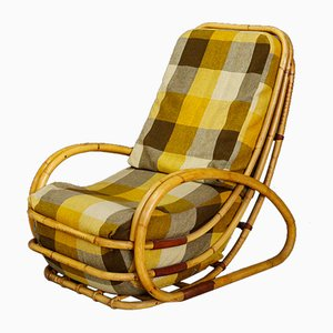 Mid-Century Italian Bamboo & Fabric Lounge Chair